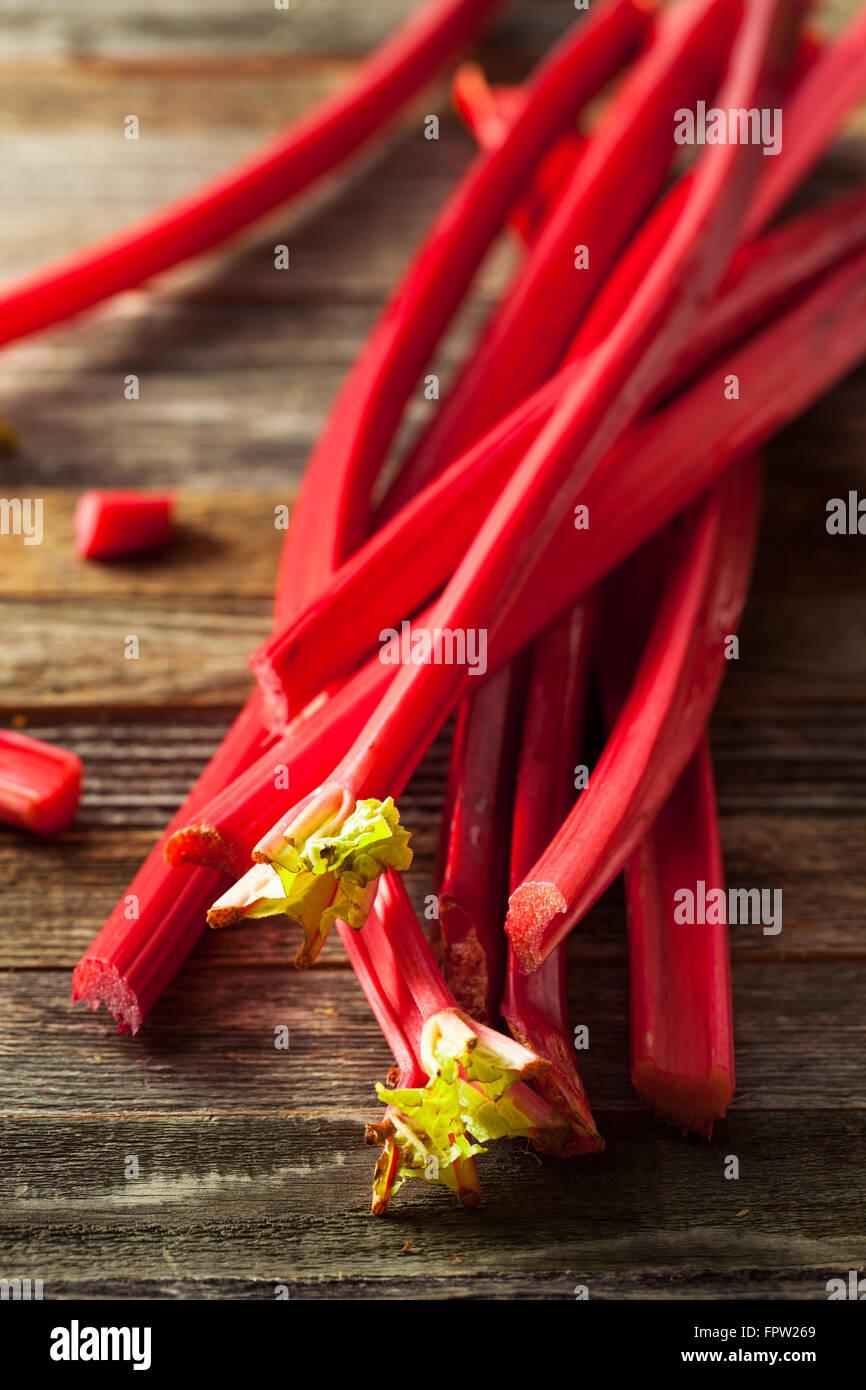 Raw Organic Red Rhubarb Ready to Use - Stock Image