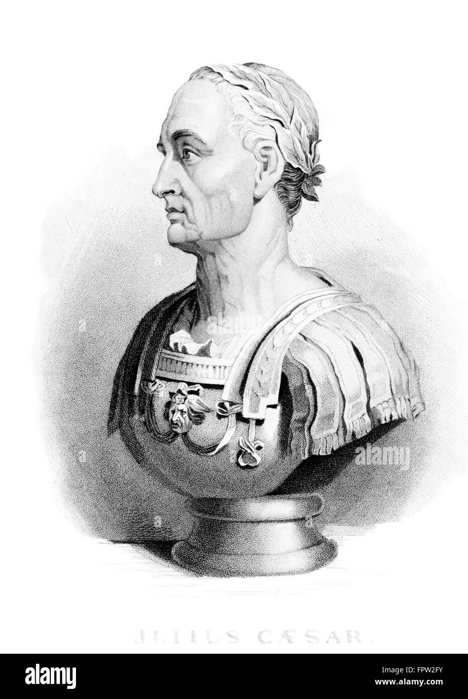 BUST GAIUS JULIUS CAESAR PROFILE ROMAN EMPIRE GENERAL STATESMAN DICTATOR MURDERED 44 BCE ON MARCH 15 BEWARE IDES - Stock Image