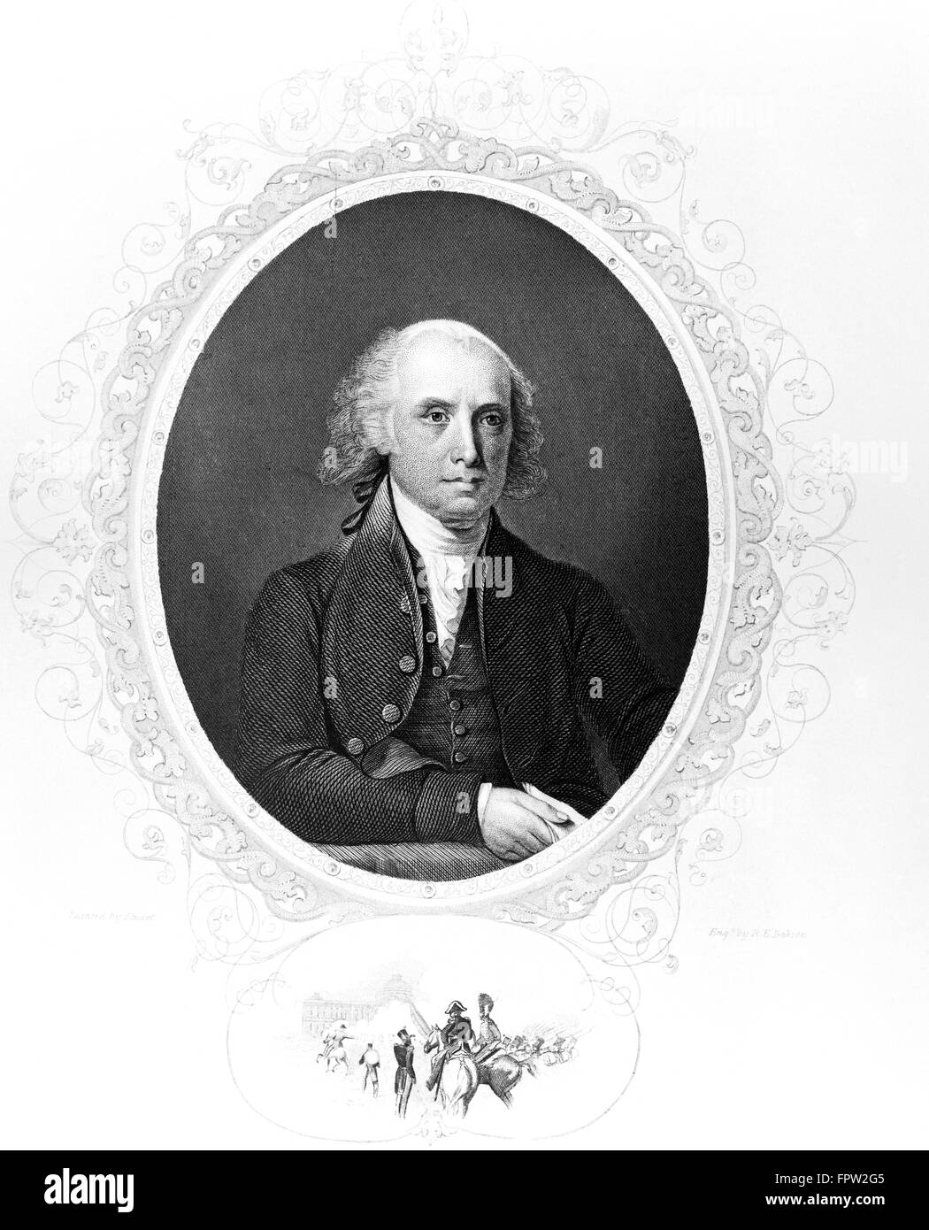1800s PORTRAIT JAMES MADISON 1751-1836 4th FOURTH AMERICAN PRESIDENT FATHER OF THE CONSTITUTION WAR OF 1812 FEDERALIST - Stock Image