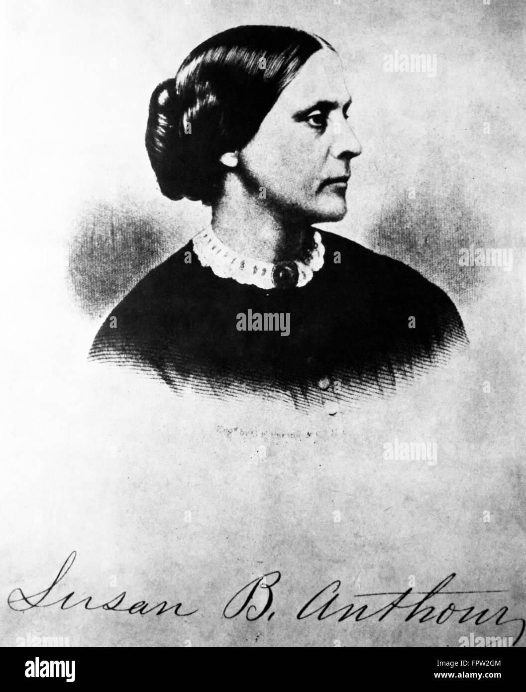 ILLUSTRATION PORTRAIT PROFILE OF SUSAN B. ANTHONY WITH SIGNATURE - Stock Image