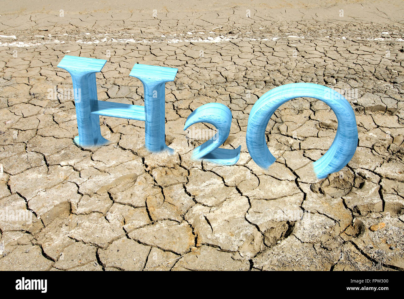 CGI of the letters H2O in cracked soil, 3D graphics, symbolic picture for drought - Stock Image