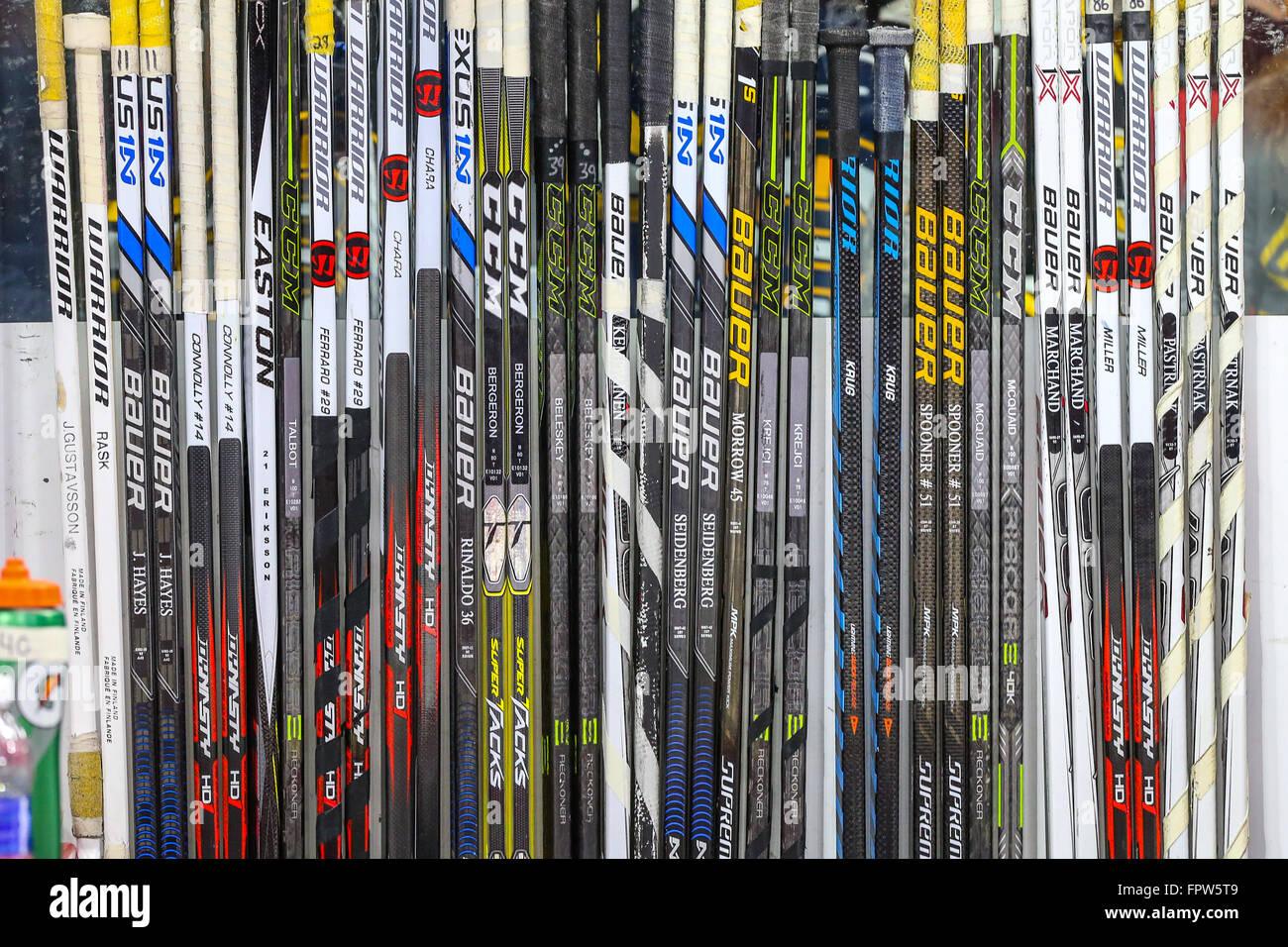 Boston Bruins hockey sticks during the NHL game between the Boston Bruins  and the Carolina Hurricanes b5c0130d0