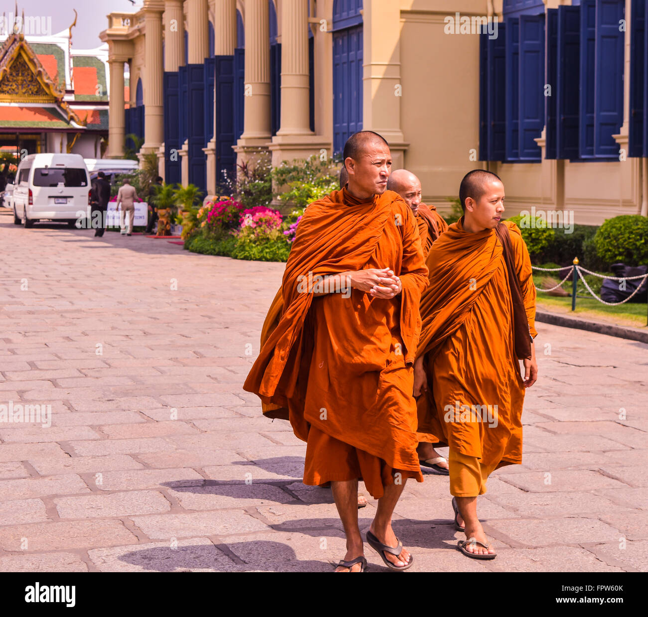 Buddhist Walking Monks - Stock Image