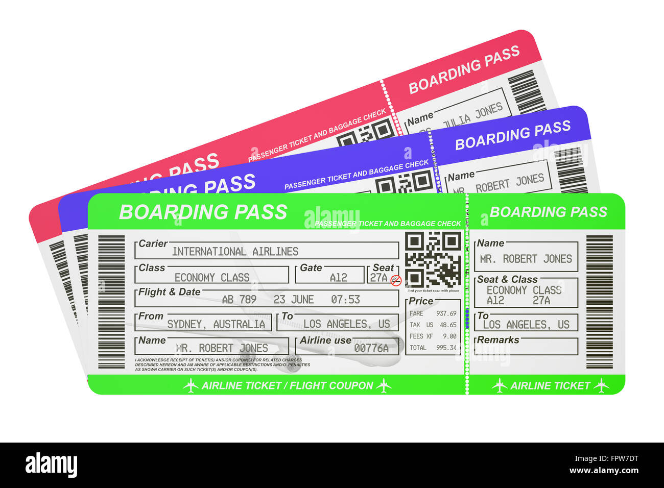 Boarding Pass Tickets Isolated On White Background Stock Photo