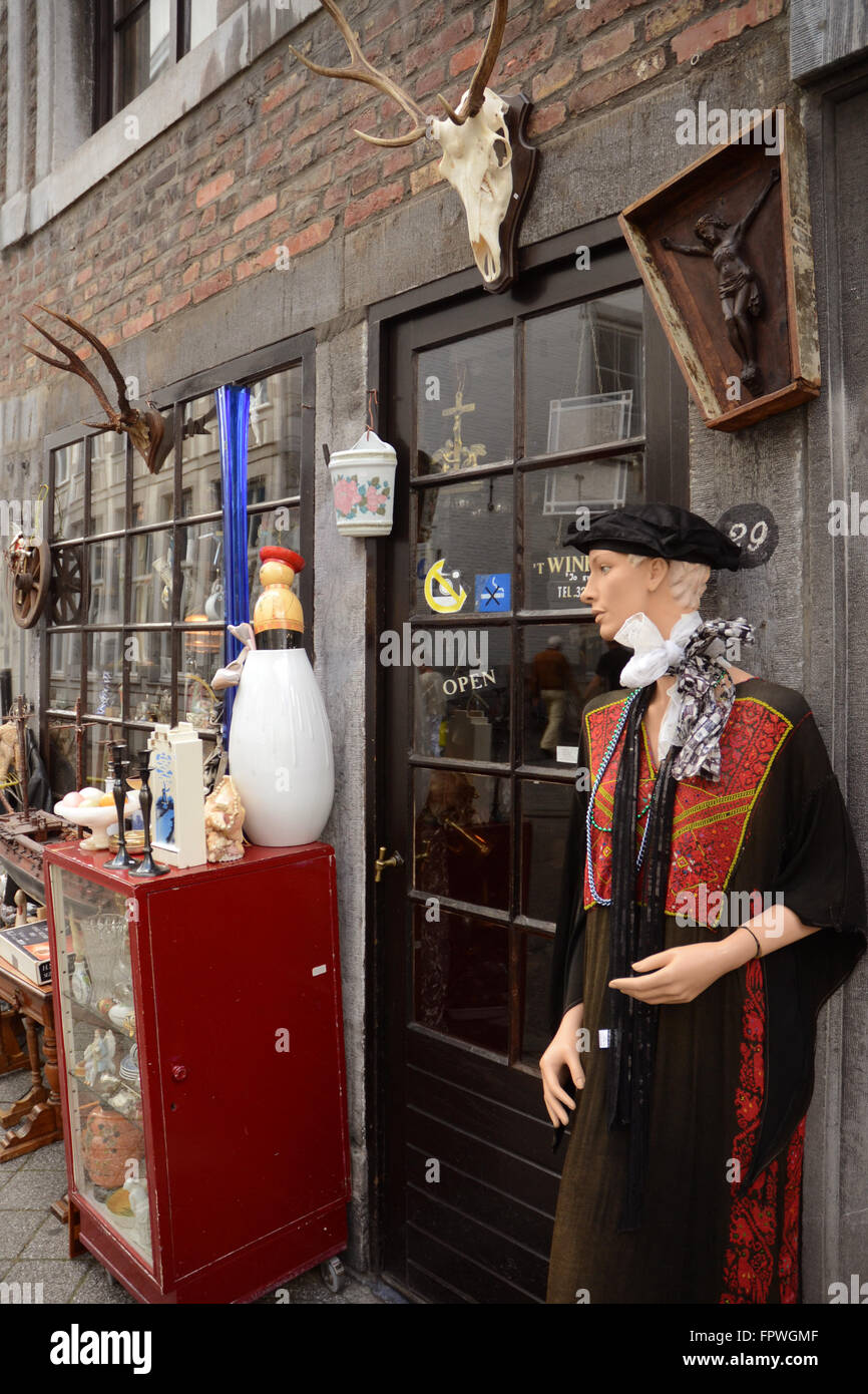 Curiosity shop on the Bredestraat in Maastricht. Stock Photo