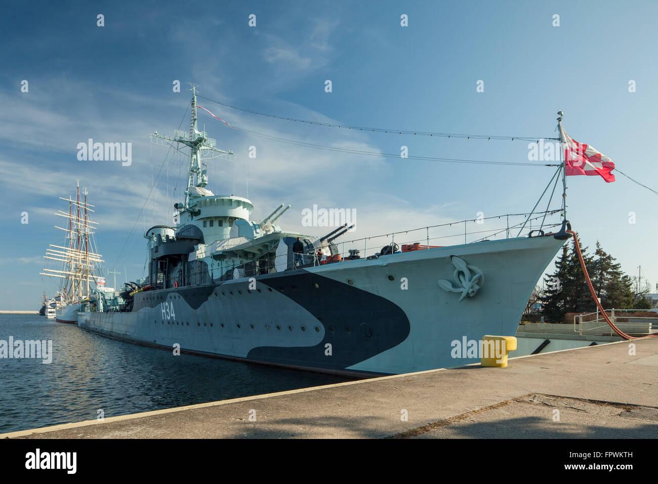 Historic warship 'Blyskawica' in Gdynia, Poland. - Stock Image