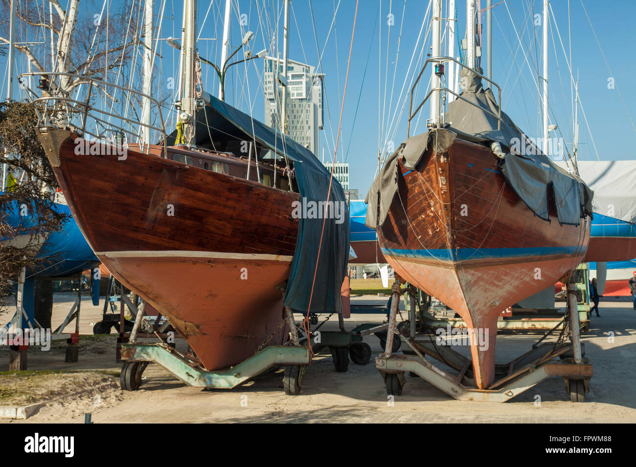 Yachts aground in Gdynia, Poland. - Stock Image