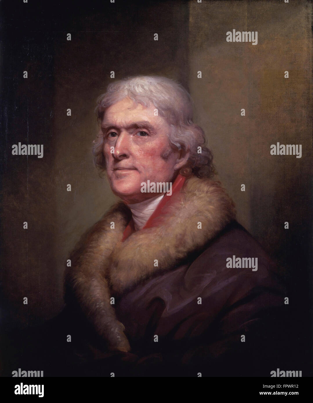 Vintage American History painting of President Thomas Jefferson. Stock Photo