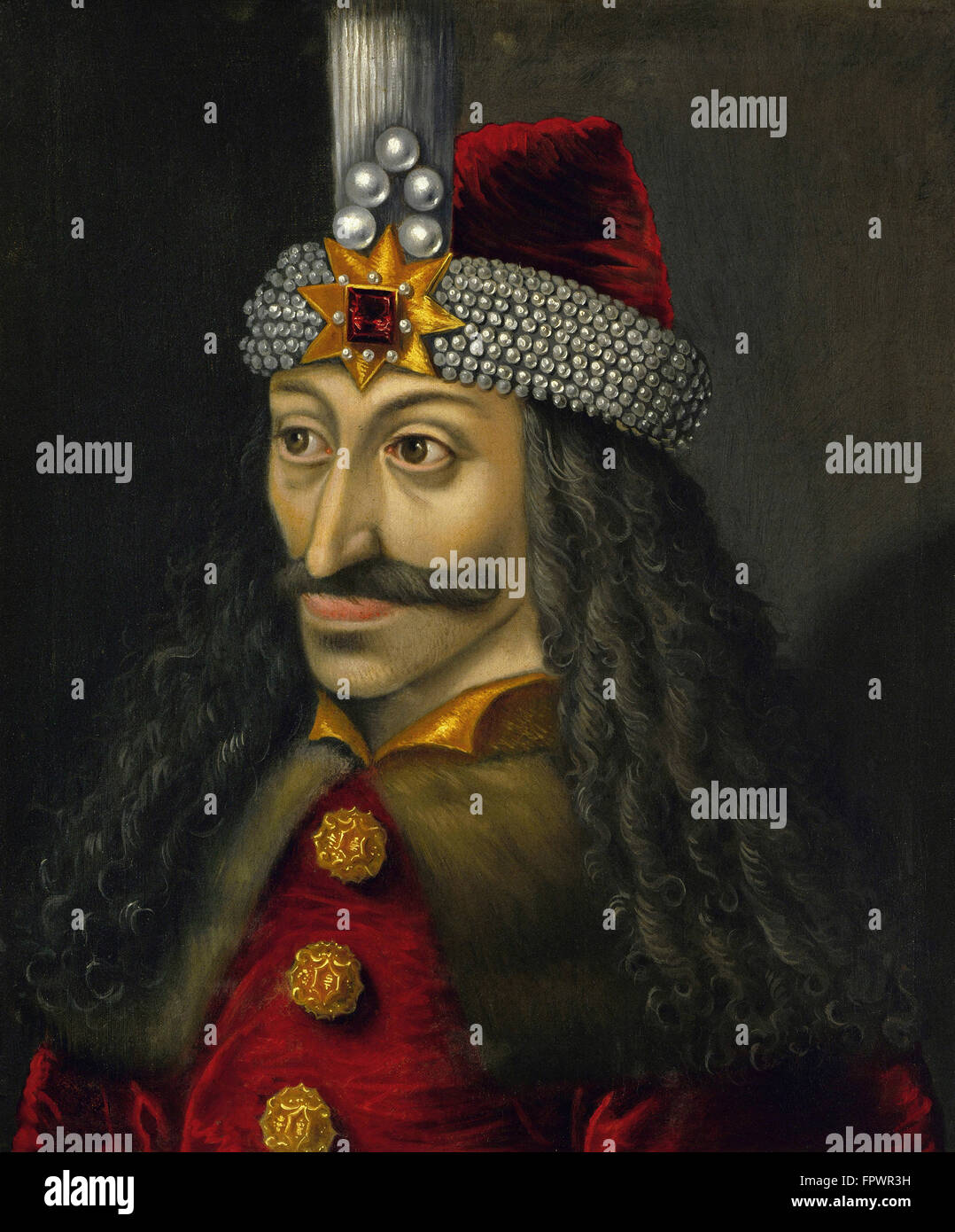 Vintage European history painting of Vlad the Impaler, Prince of Wallachia. - Stock Image