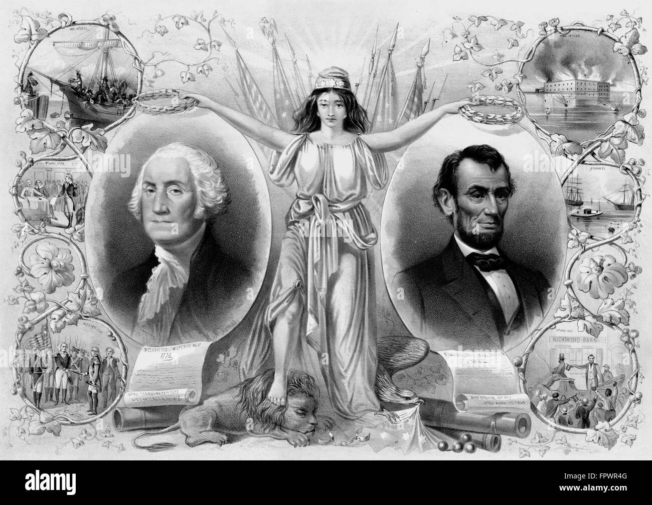 Vintage American History print of President George Washington, President Abraham Lincoln, and Columbia. It also - Stock Image