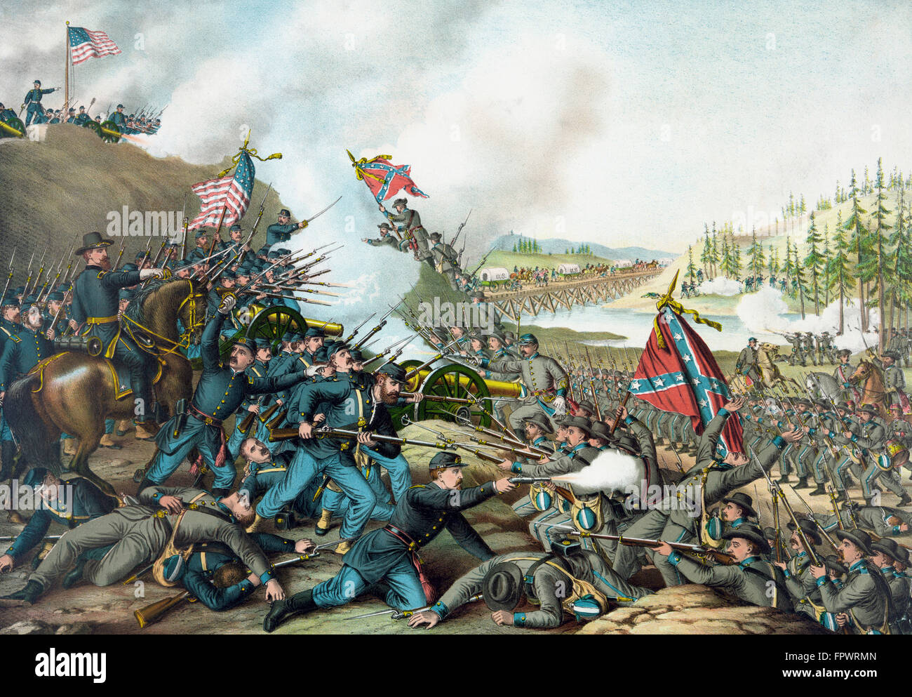 Vintage Civil War print of the Battle of Franklin. The battle was fought on November 30, 1864, at Franklin, Tennessee, - Stock Image