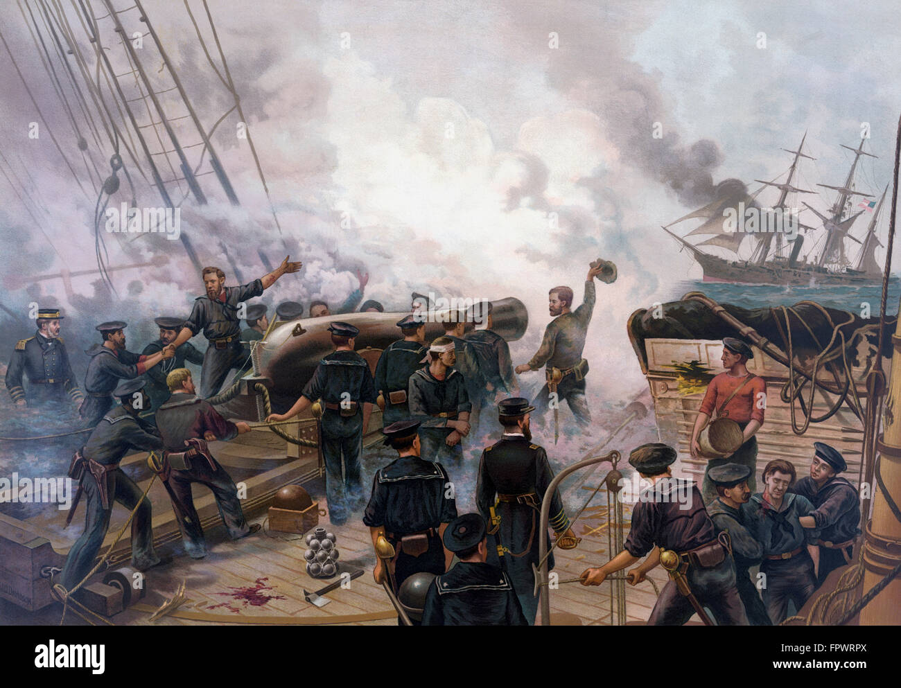 Vintage American Civil War print of The Battle of Cherbourg, between the United States Navy warship, the USS Kearsarge, - Stock Image