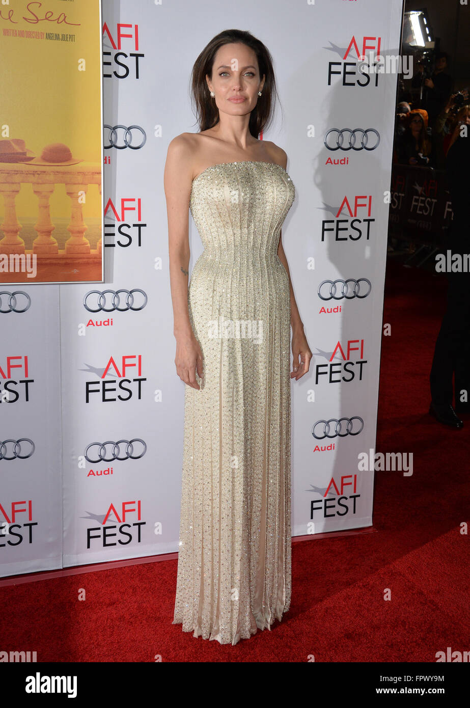 LOS ANGELES, CA - NOVEMBER 5, 2015: Actress/writer/director Angelina Jolie at the AFI Festival premiere of her movie - Stock Image