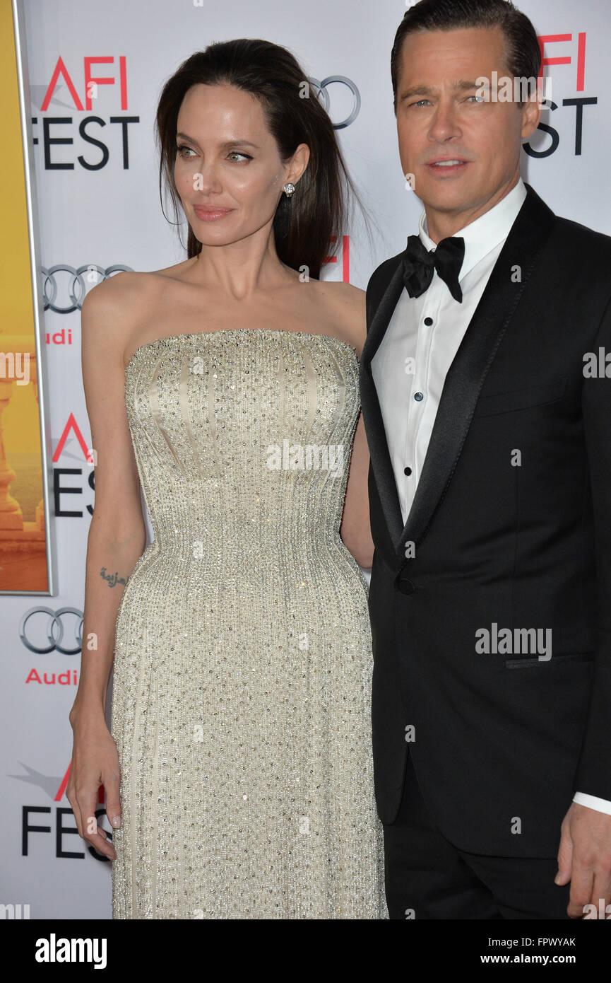 LOS ANGELES, CA - NOVEMBER 5, 2015: Actress/writer/director Angelina Jolie & actor husband Brad Pitt at the - Stock Image