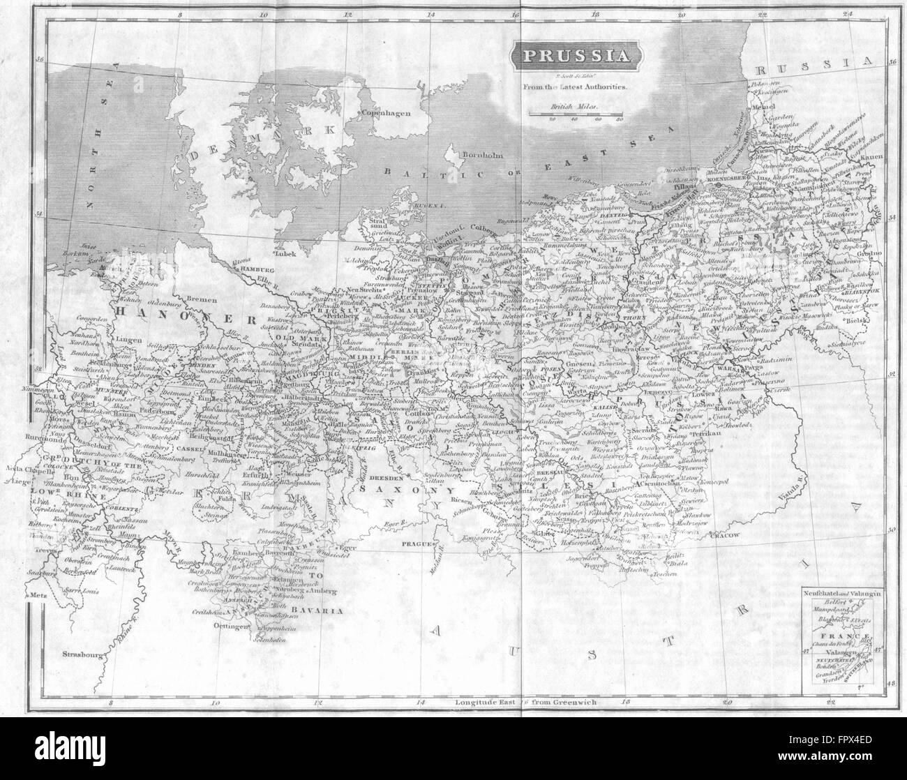 GERMANY: Prussia: Gracie, 1823 antique map Stock Photo