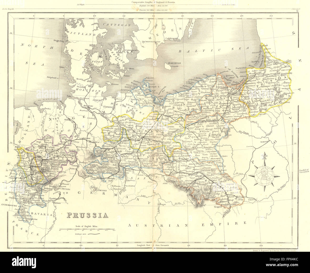 Germany Prussia Archer 1850 Antique Map Stock Photo 100148704