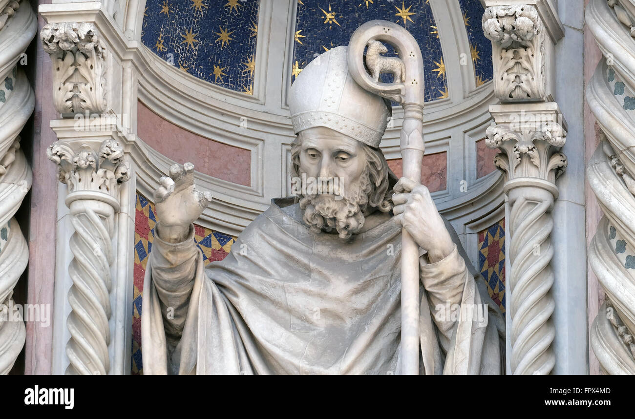 Saint Zenobius of Florence, Portal of Cattedrale di Santa Maria del Fiore (Cathedral of Saint Mary of the Flower), - Stock Image