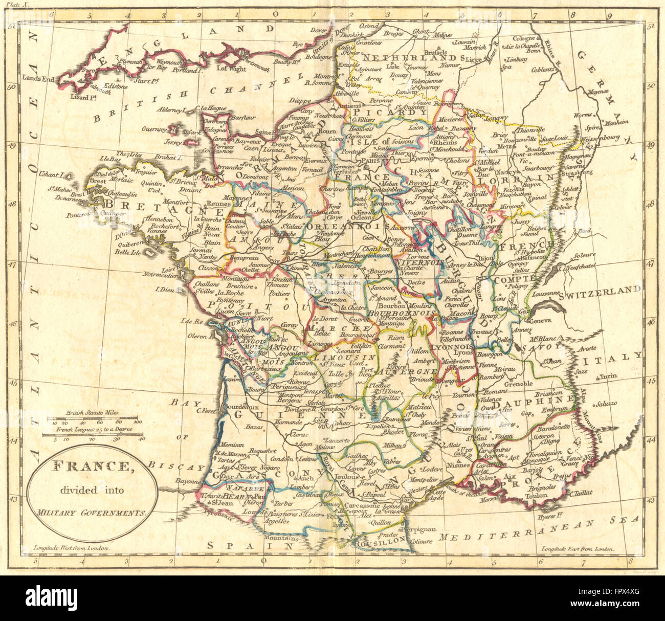 Map Of France 1800.France Military Governments Guthrie 1800 Antique Map Stock Photo