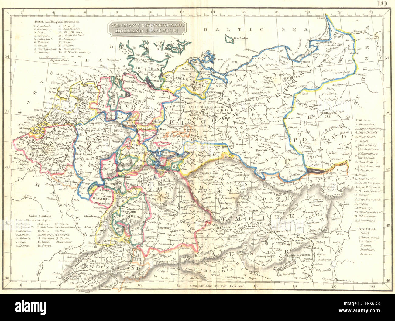 Map Of Holland And Germany.Germany Switzerland Holland Belgium Arrowsmith 1832 Antique Map