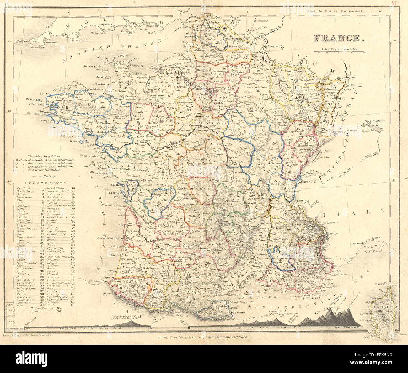 Map Of France With Mountains.France Dower Mountains 1850 Antique Map Stock Photo 100150316