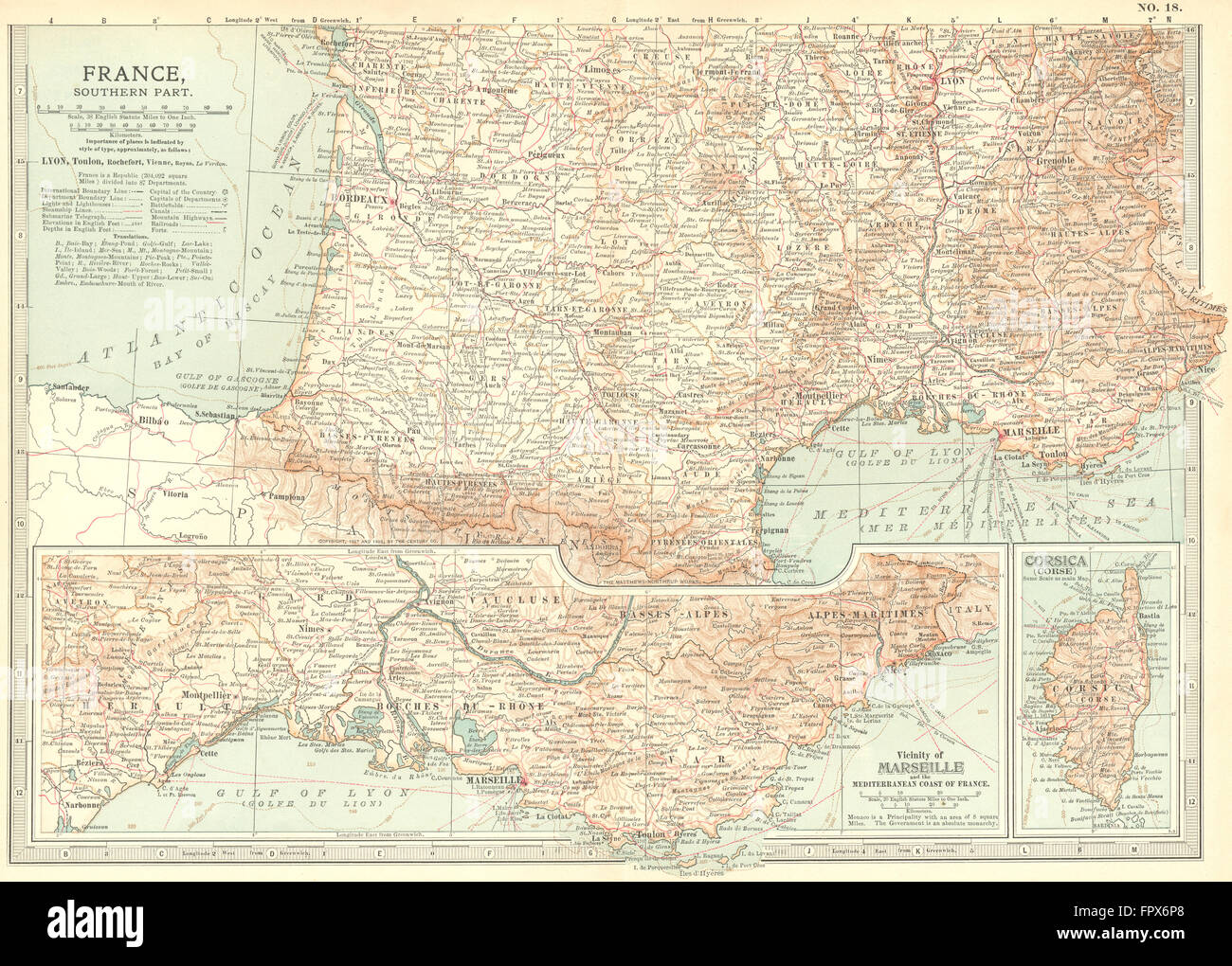 Map Of France South.France South 1903 Antique Map Stock Photo 100150352 Alamy