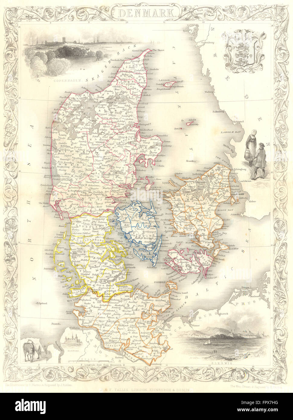 DENMARK: Tallis, 1855 antique map - Stock Image
