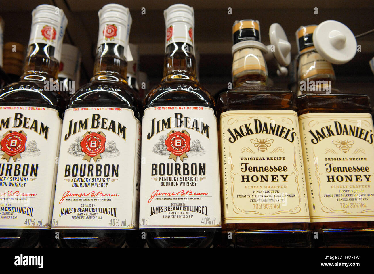 b2b515e760c Jim Beam Bourbon and Jack Daniels Tennessee Honey Whiskey on display at a  Carrefour Supermarket in