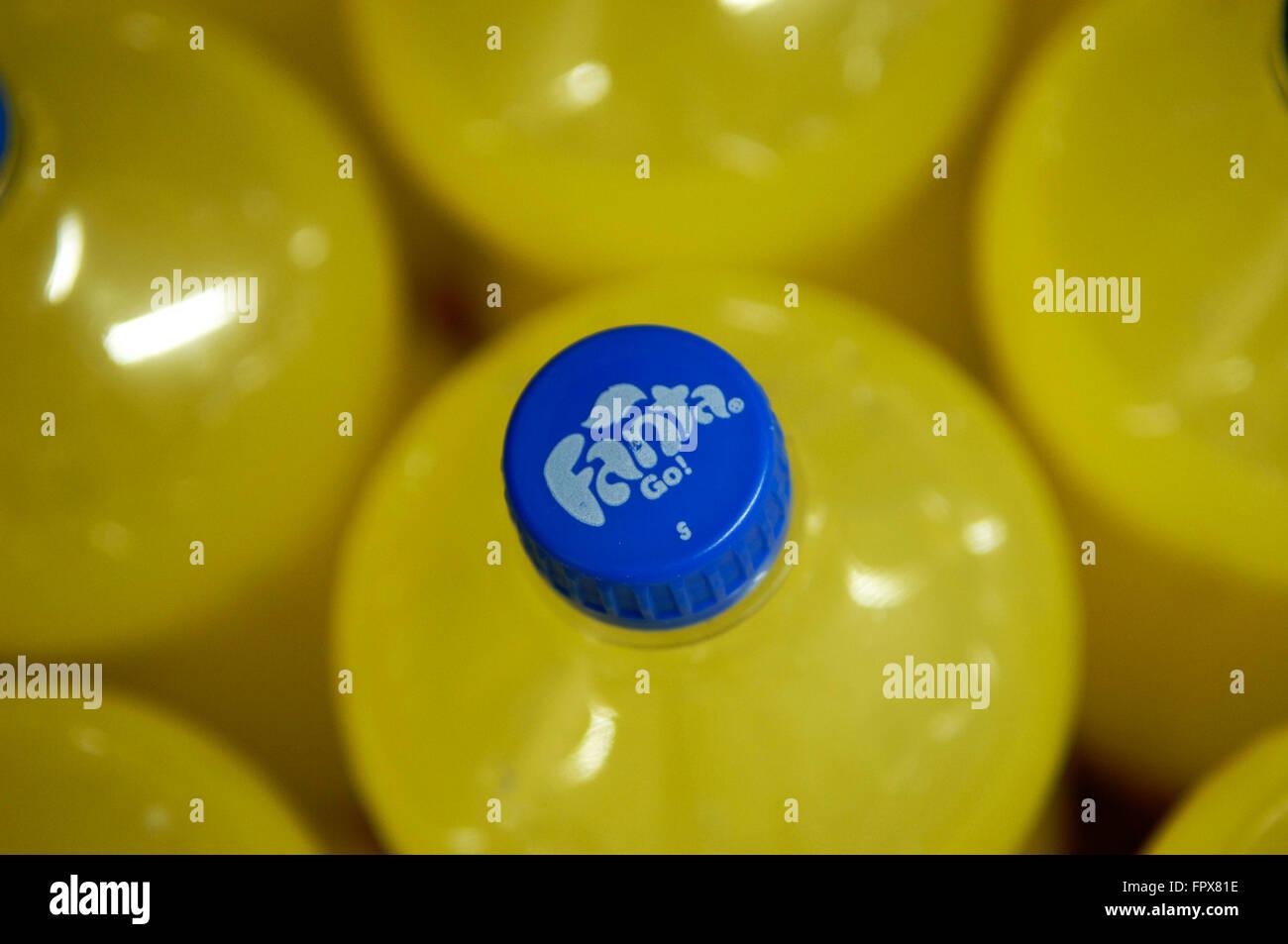 Fanta Orange Drink bottle lid shot from above in a Carrefour supermarket Malaga Spain. - Stock Image