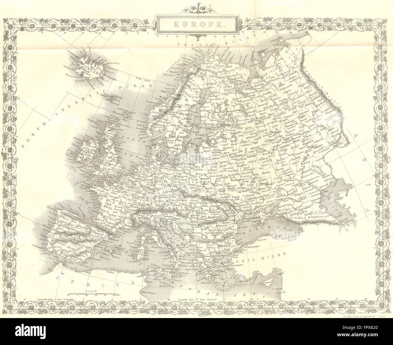 EUROPE: Continent: Rapkin, 1850 antique map - Stock Image
