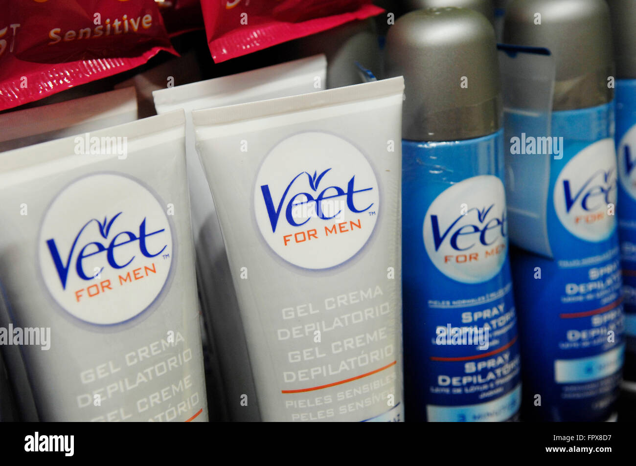 Veet For Men Hair Removal Gel Cream On Display In A Supermarket