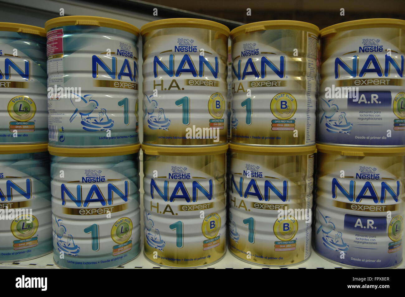 Nestle Nan Baby Food on display in a Carrefour Store. Stock Photo
