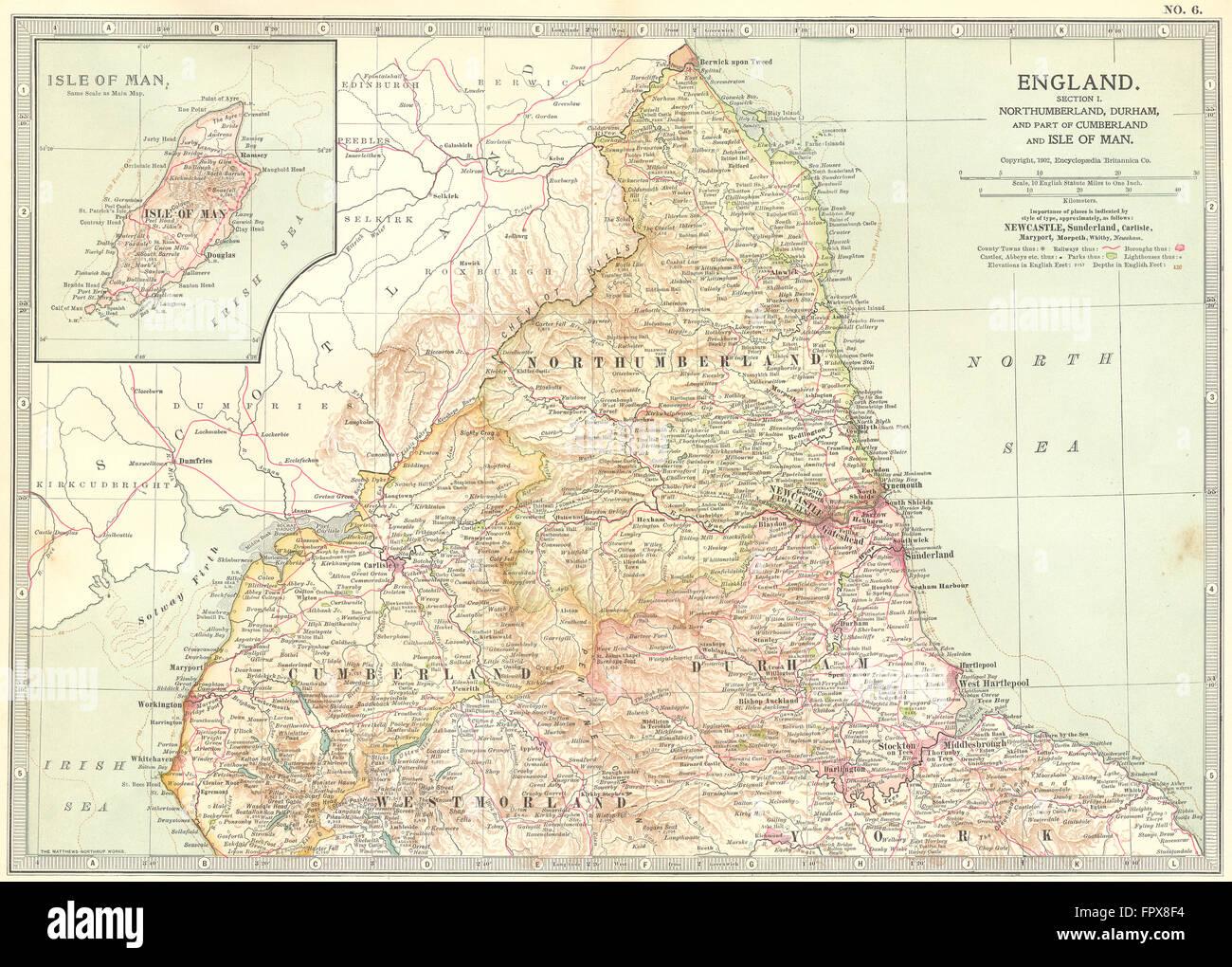 England Northumbs Durham Cumbria Isle Of Man 1903 Antique Map