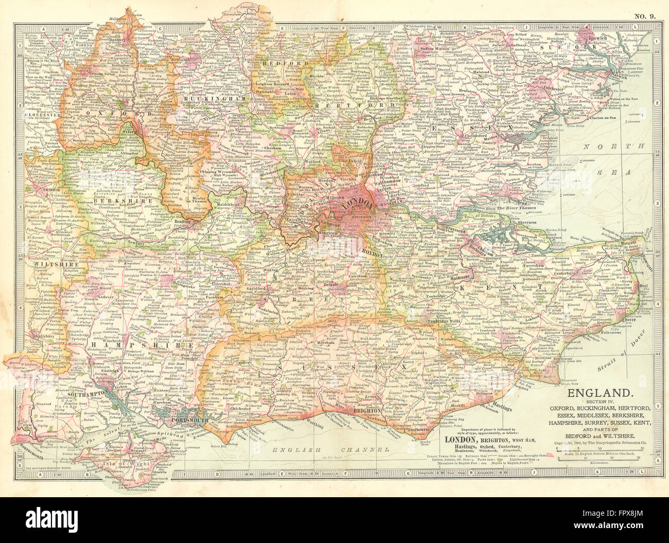 Se England Map.Se England Home Counties Inc Bucks Essex Middx 1903 Antique Map