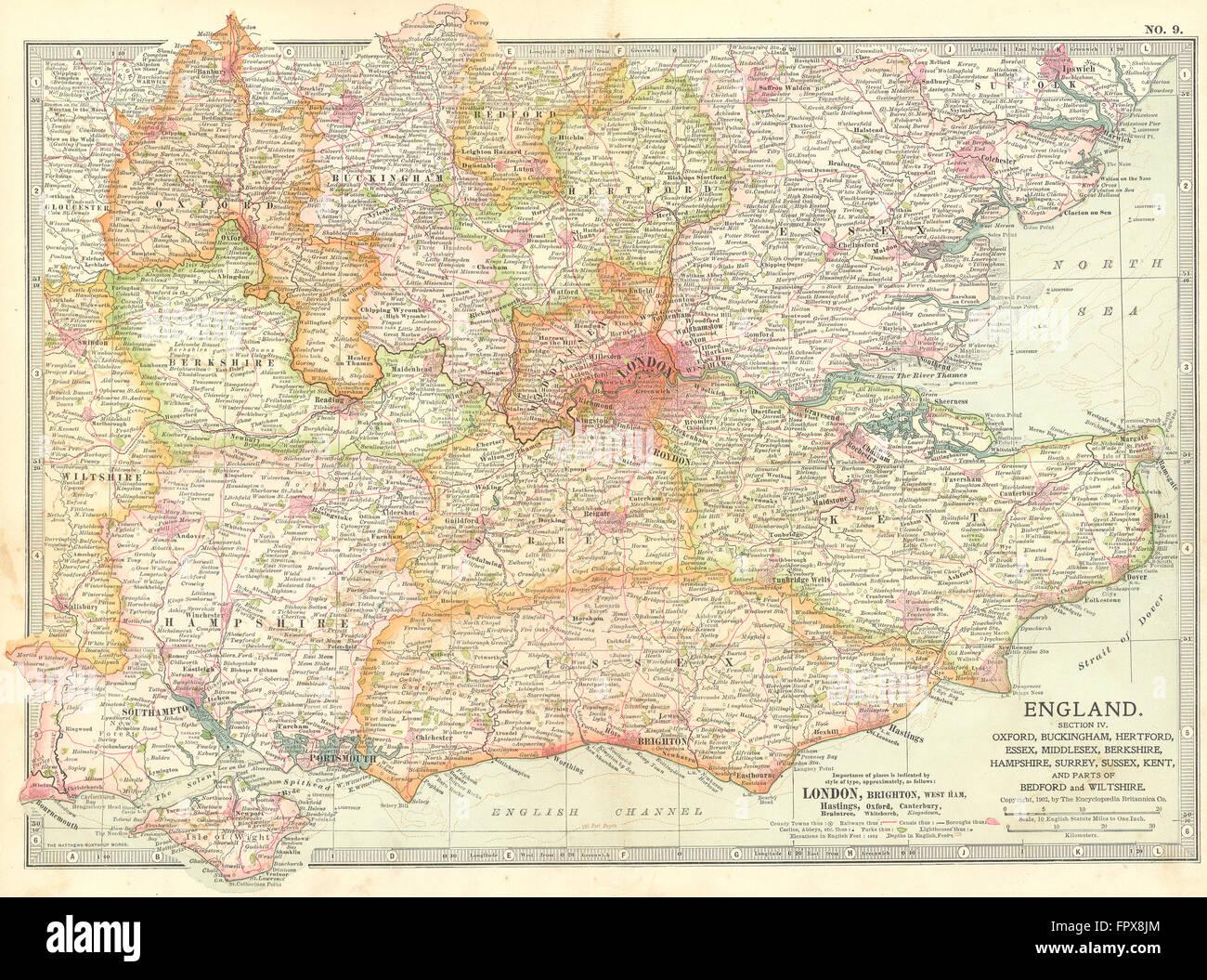 S E England Map.Se England Home Counties Inc Bucks Essex Middx 1903 Antique Map