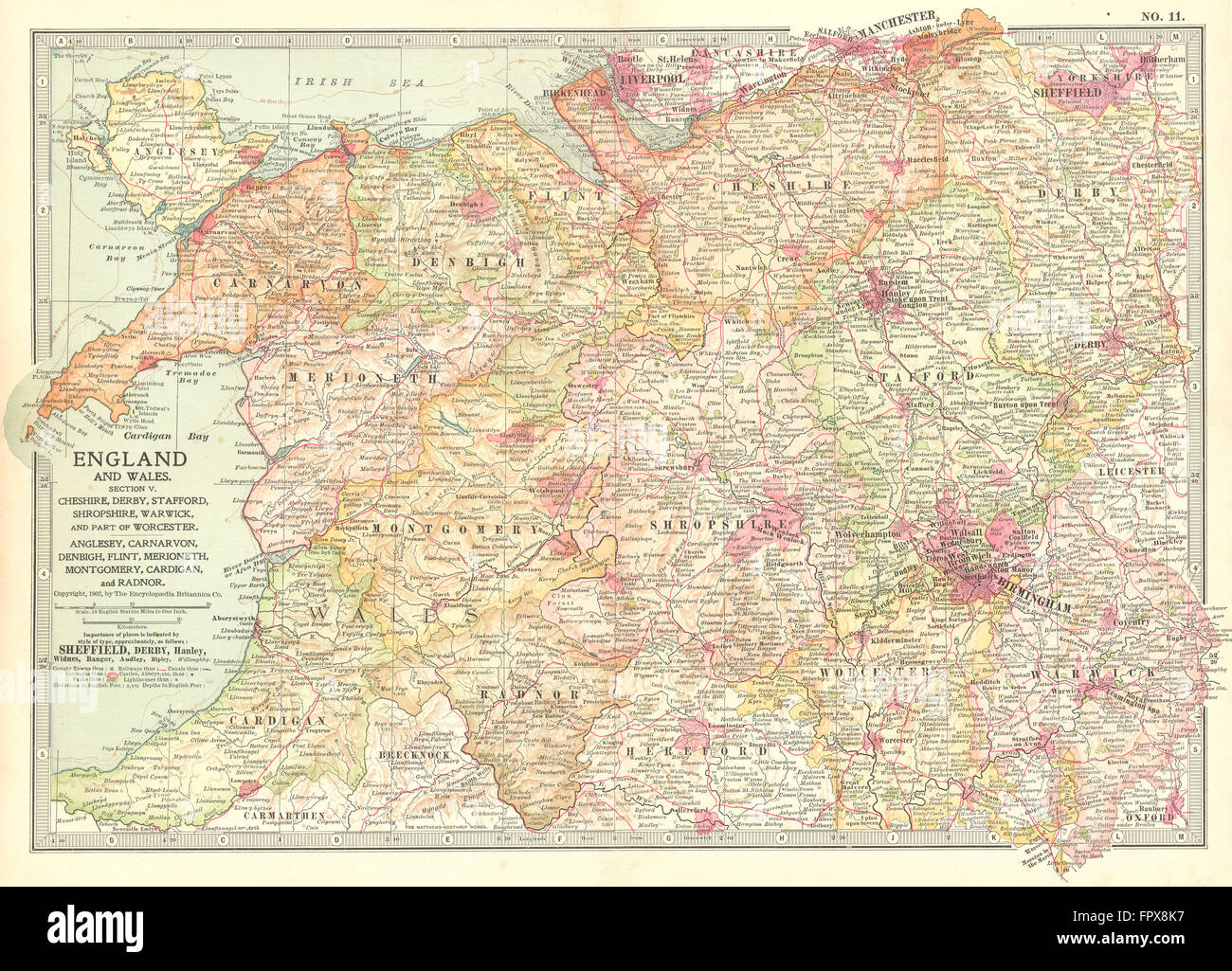 Map Of North England Uk.Uk West Midlands England North Wales 1903 Antique Map Stock