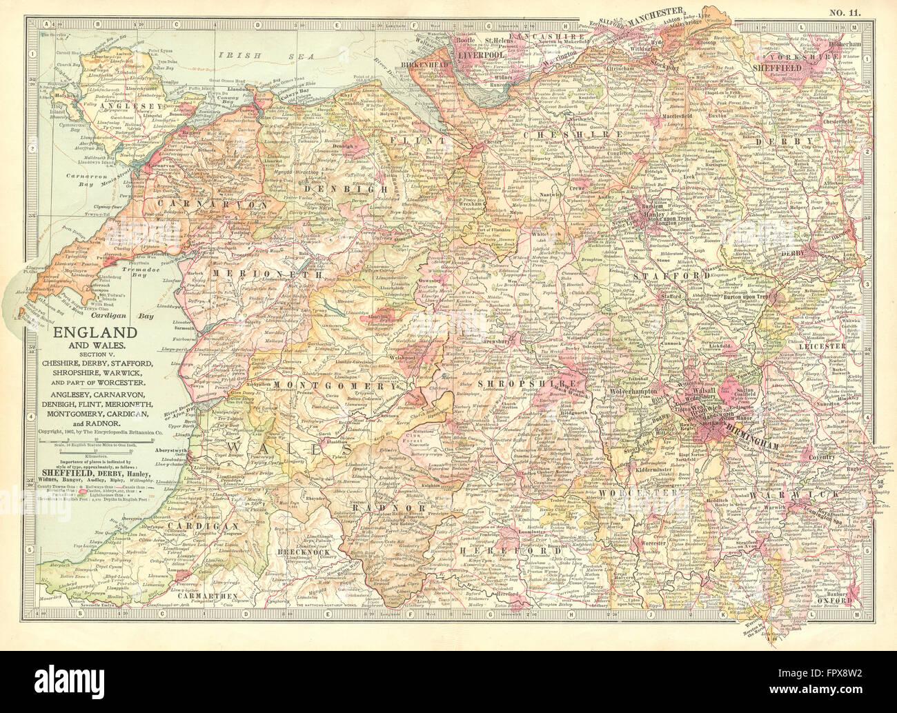 uk west midlands england north wales 1903 antique map