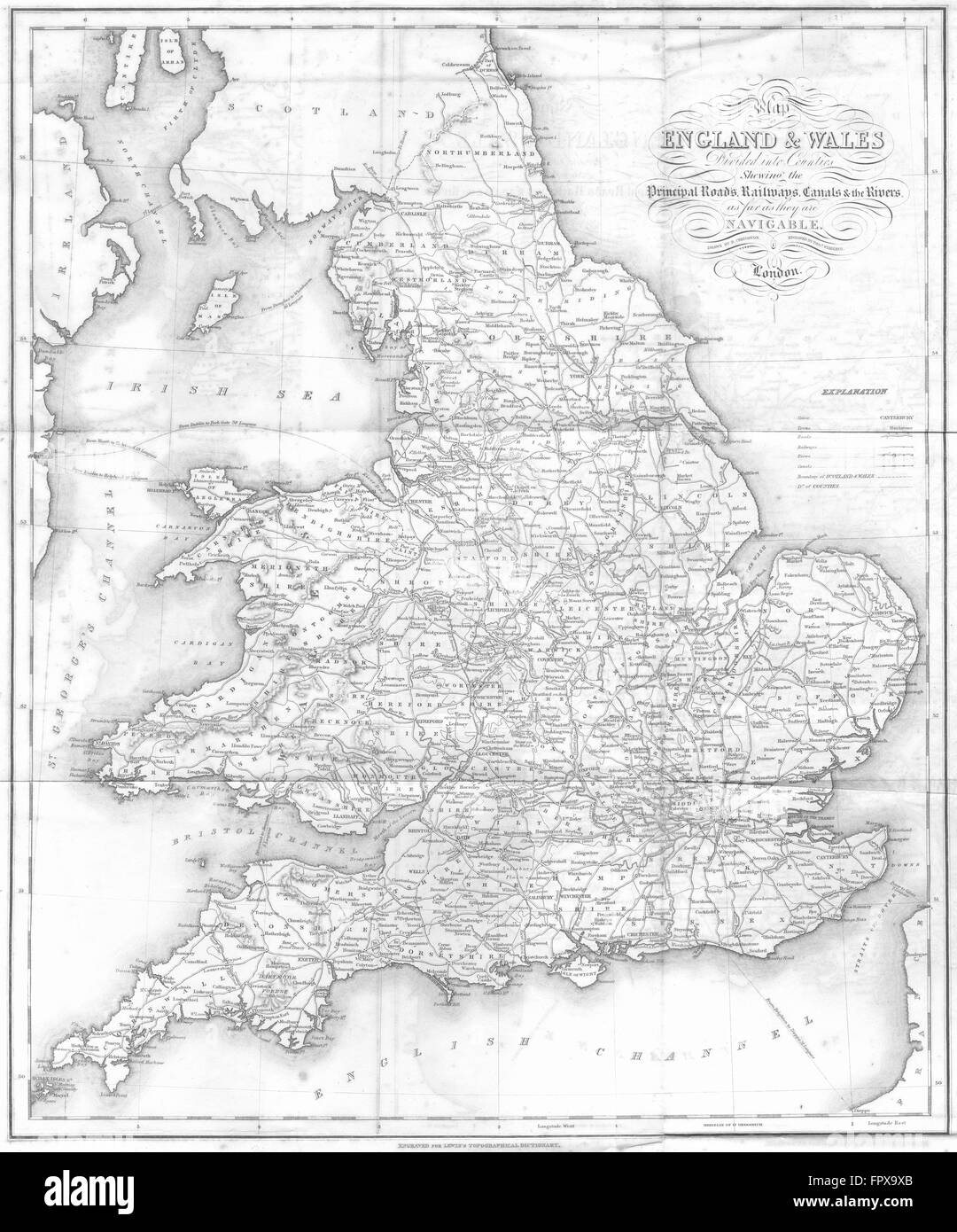 Map Of England Rivers And Canals.England Wales Roads Rail Canals Rivers Lewis 1831 Antique Map