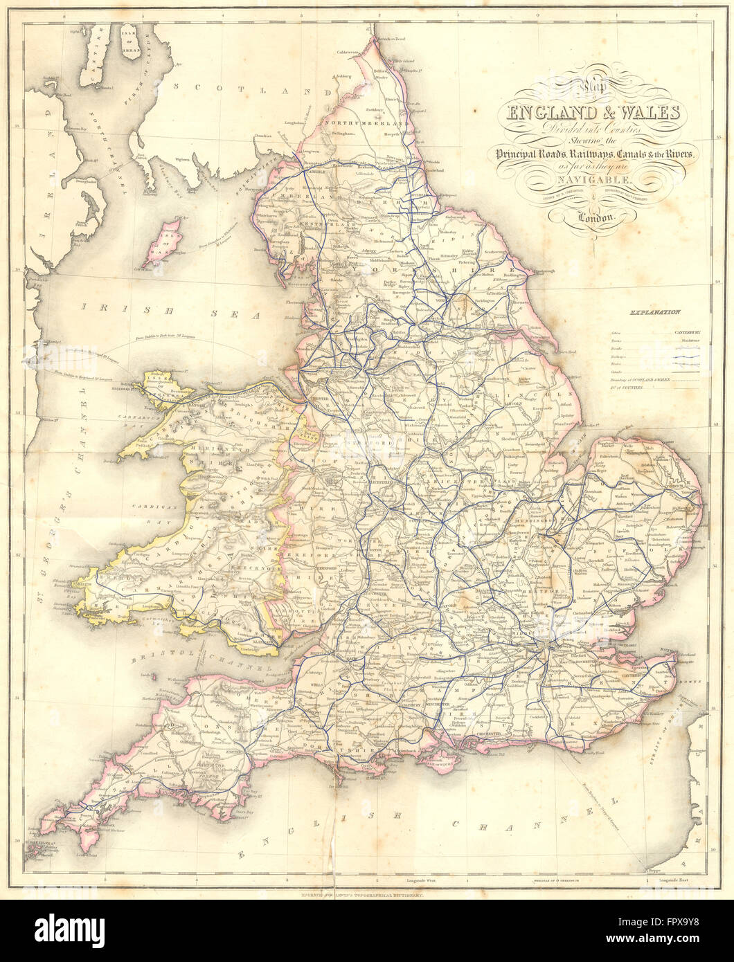 Map Of England Rivers And Canals.England Wales Roads Rail Canals Rivers Lewis 1848 Antique Map