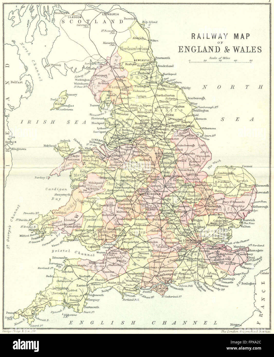 Uk Railway England Wales England Wales Philip 1890 Antique Map