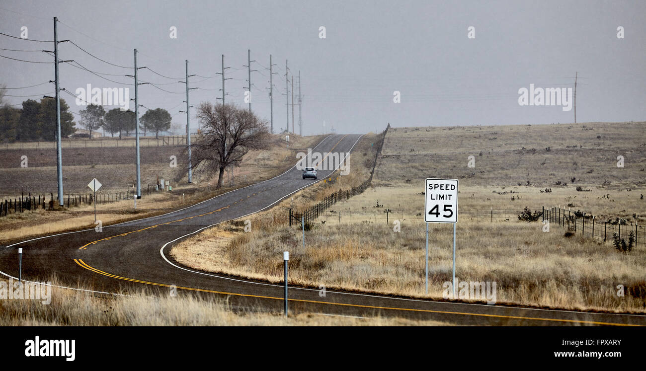 Country Highway Road Hail Storm with street sign and cars - Stock Image