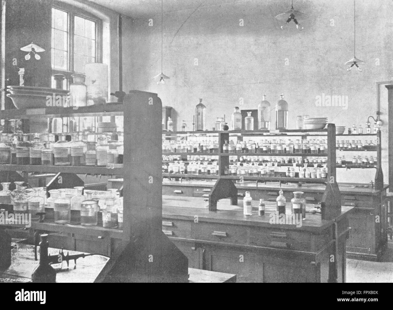 WORCESTER: Victoria Inst, Chemistry Science School, antique print c1900 - Stock Image