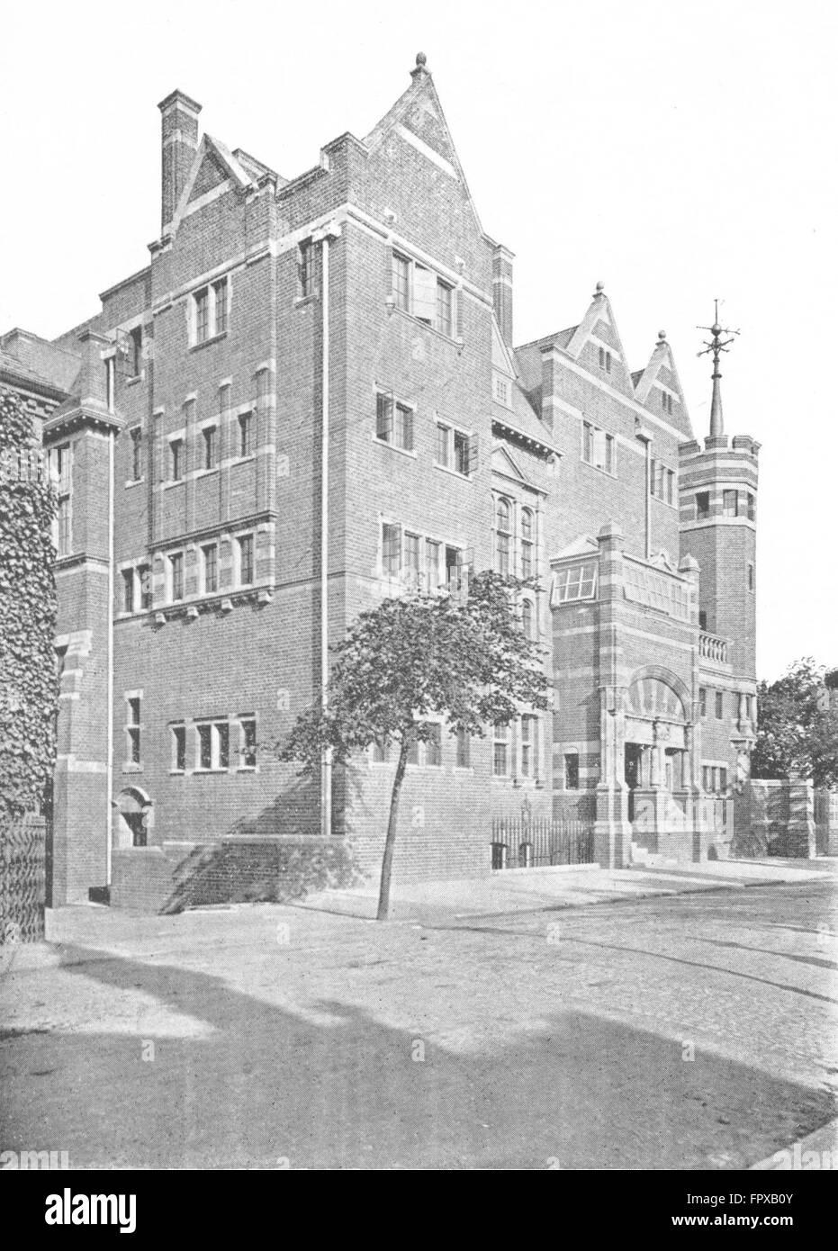 WORCESTER: Victoria Inst, Science School Sansome, antique print c1900 - Stock Image