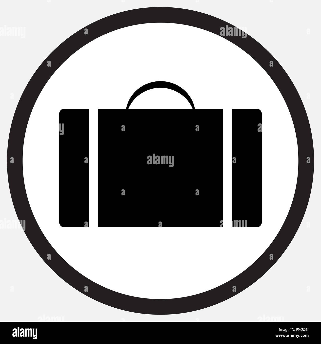 Case icon monochrome black white. Suitcase and case study,  box and bag, briefcase money case, travel case, folder - Stock Image