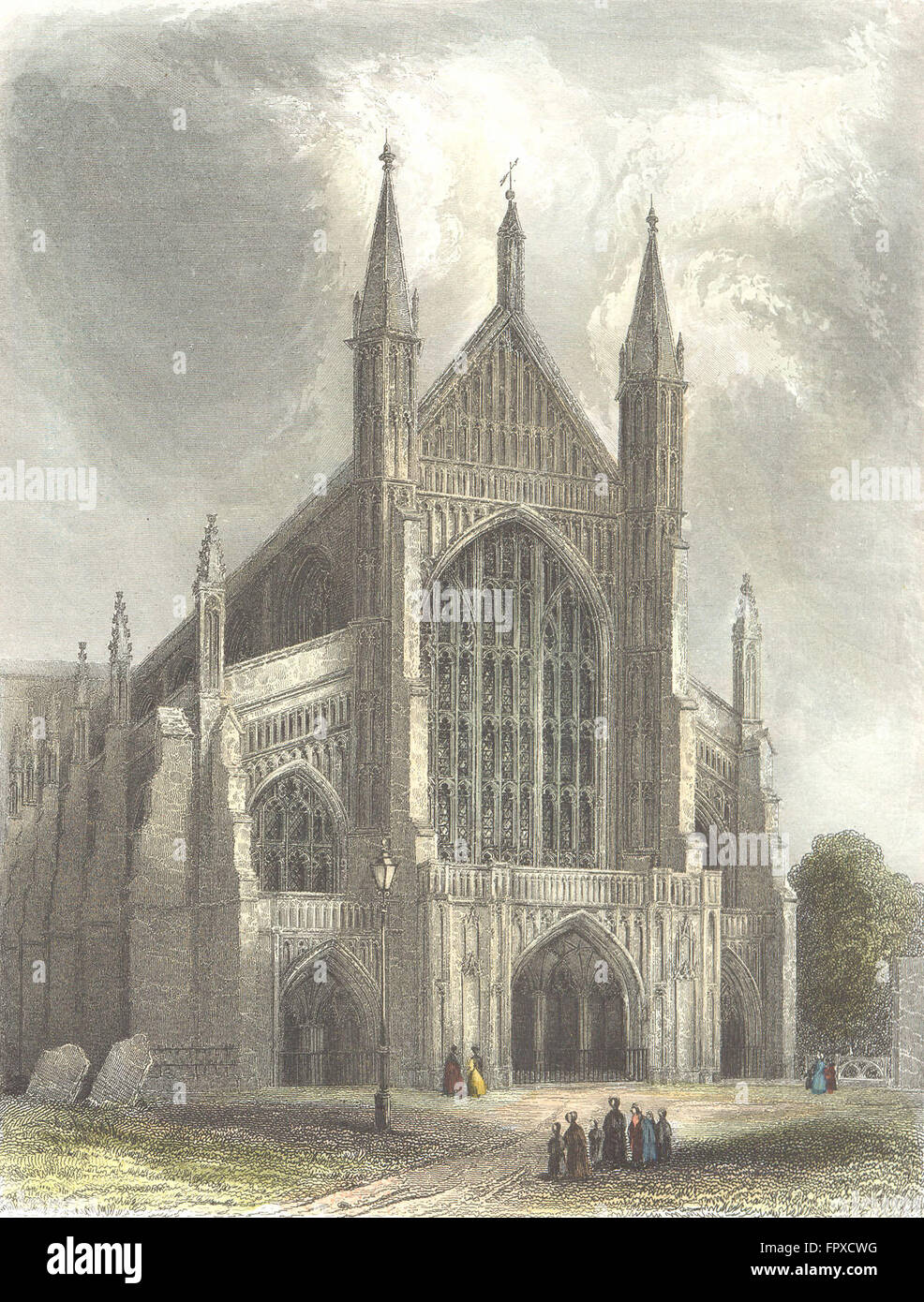 HANTS: Winchester Cathedral, antique print 1836 - Stock Image