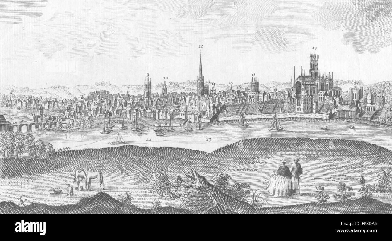 WORCS: Worcester, antique print 1760 - Stock Image