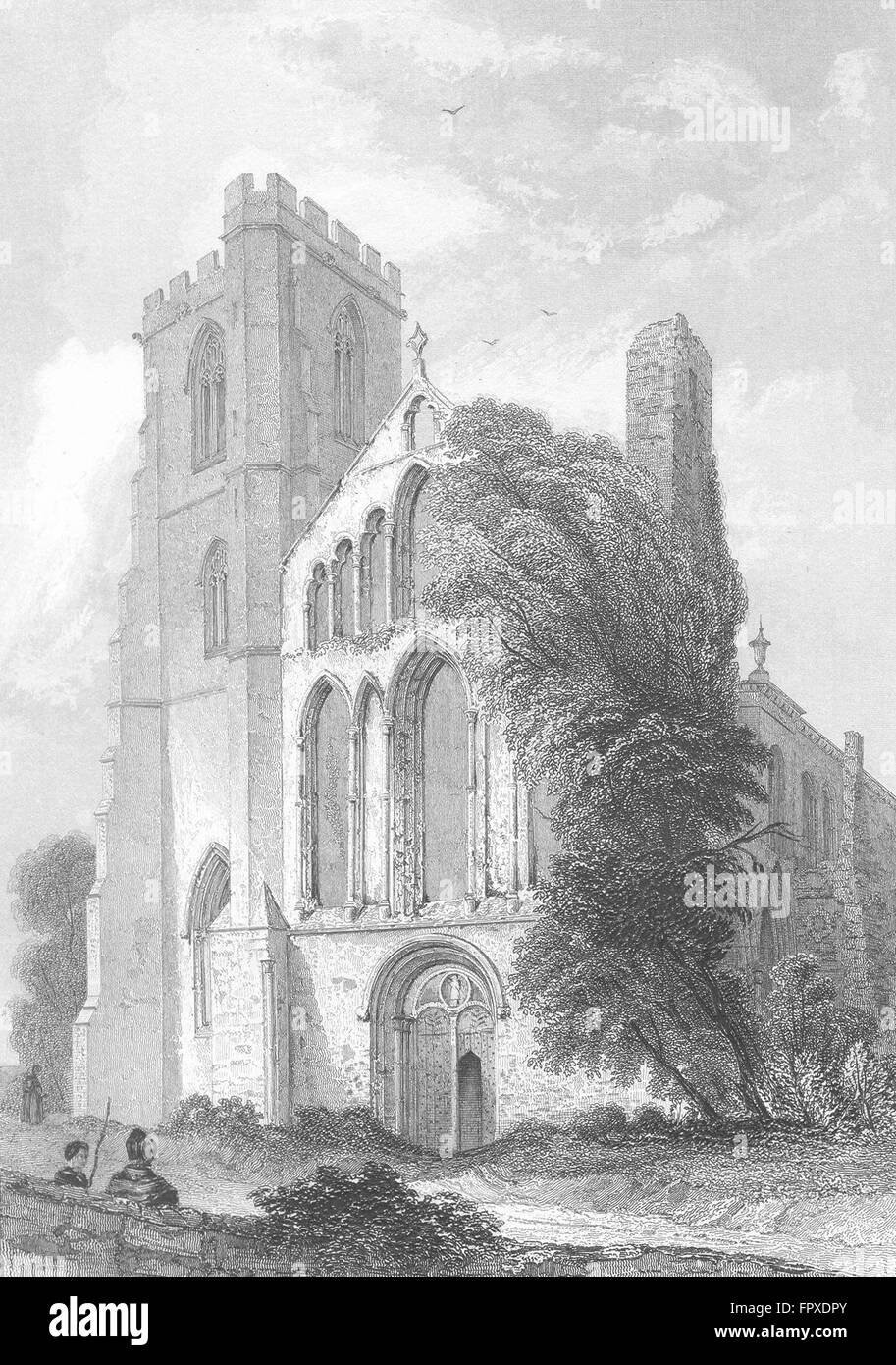 WALES: Llandaff Cathedral, antique print 1836 - Stock Image