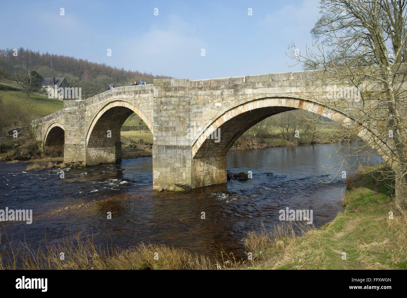 Barden Bridge Bolton Abbey, crossing the river Wharfe - Stock Image