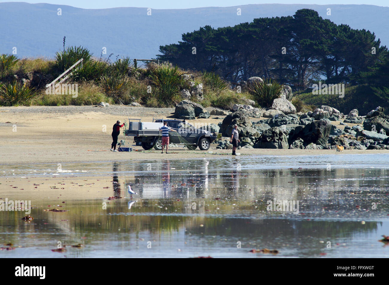 Preparations for floundering in Riverton, New Zealand - Stock Image