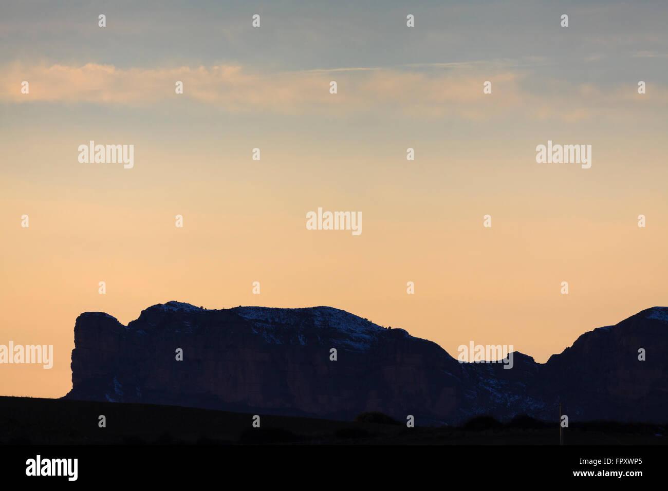 Sierra de Cis at dusk. Pre-Pyrenees. Huesca province. Aragon. Spain. - Stock Image
