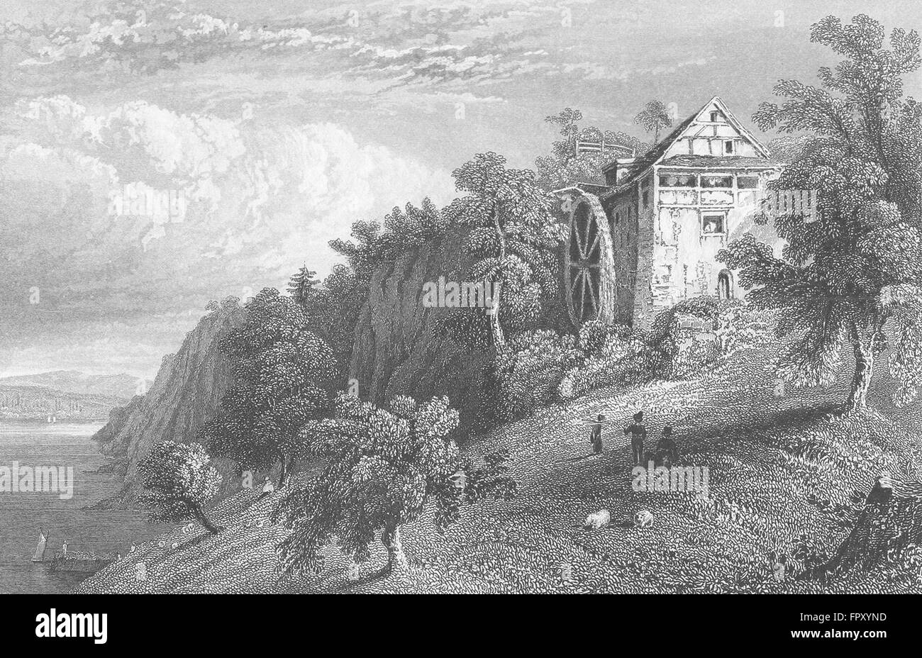 GERMANY: Mill of roos, Istein: Tombleson, antique print 1830 Stock Photo